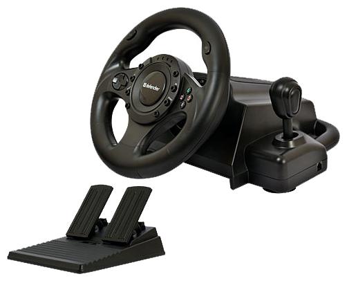 Defender Forsage Drift GT - для ПК, PS3, PS2; руль 24.5 см; кнопок 12; крестовина (D-pad) есть; педали - газ, тормоз; коробка передач