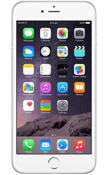 Apple iPhone 6 Plus 16Gb (MGA92RU/A), Silver - (iOS 8; GSM 900/1800/1900, 3G, LTE, LTE Advanced Cat. 4; SIM-карт 1 (nano SIM); Apple A8, 1400 МГц; RAM 1 Гб; ROM 16 Гб; 8 млн пикс., встроенная вспышка; есть, 1.2 млн пикс.; датчики - освещенности, приближения, гироскоп, компас, барометр, считывание отпечатка пальца)