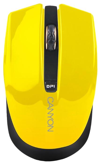 Canyon CNS-CMSW5Y Yellow USB - оптическая светодиодная; кнопок 4; 1280 dpi; беспроводная связь есть; радиоканал; USB • 115 г. 101x58x31
