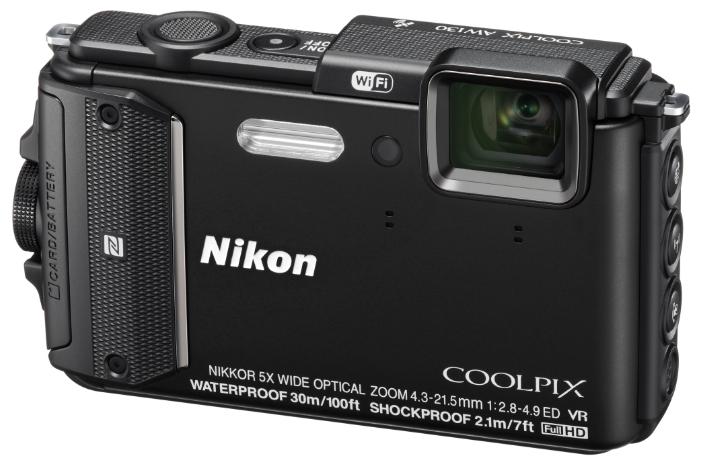 Nikon Coolpix AW130, black - (16.76 млн, оптический zoom: 5x, 1920x1080, 7 кадр./сек, 921000 точек, 3 дюйма)