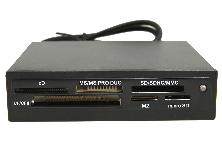 Ginzzu GR-116B - Картридер; внутренний • Типы карт: CF/CFII, xD, MS/MS Pro Duo, SD/SDHC, MMC, M2, microSD