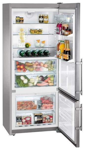 Liebherr CBNPes 4656 Silver - (холодильник с морозильником, 502 л (клим.класс SN, T), отдельно стоящий, компрессоров 1, камер 2, дверей 2. Хол-ник 306 л (разм. капельная система). Мор-ник 82 л, снизу (разм. No Frost). ШГВ 75x63x186 см. Дисплей есть. Управление электронное. Энергопотр-е класс A++ (257 кВтч/год). серебристый / металл)