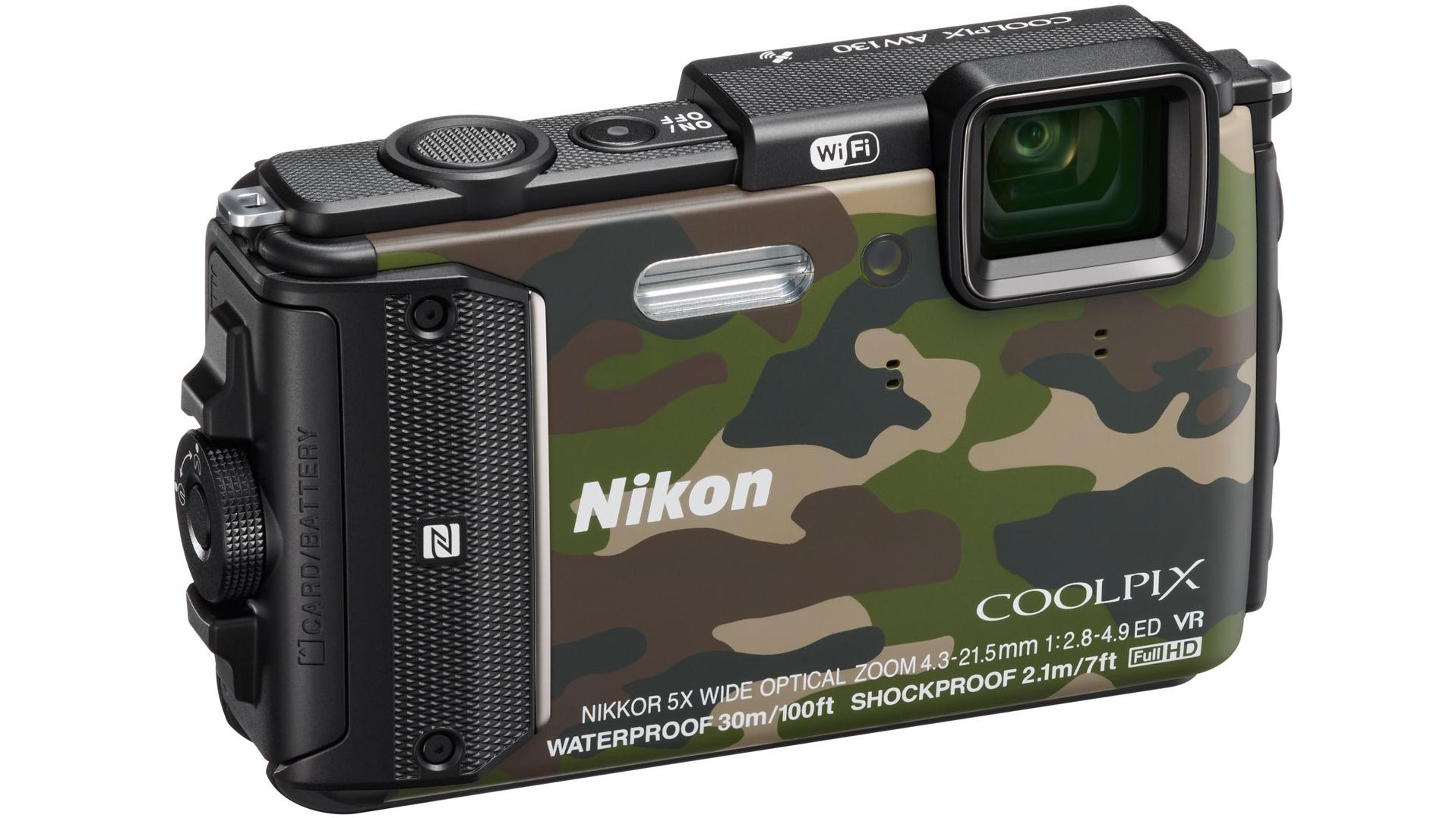 Nikon Coolpix AW130 Camouflage - (16.76 млн, оптический zoom: 5x, 1920x1080, 7 кадр./сек, 921000 точек, 3 дюйма)
