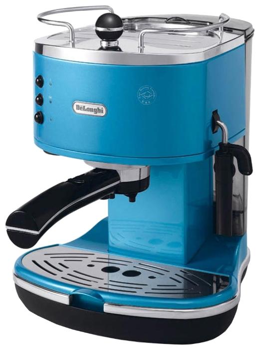 De Longhi ECO 310.Blue - эспрессо, полуавтоматическое приготовление; кофе - молотый / чалды; нагреватель - бойлер; резервуар 1.4 л