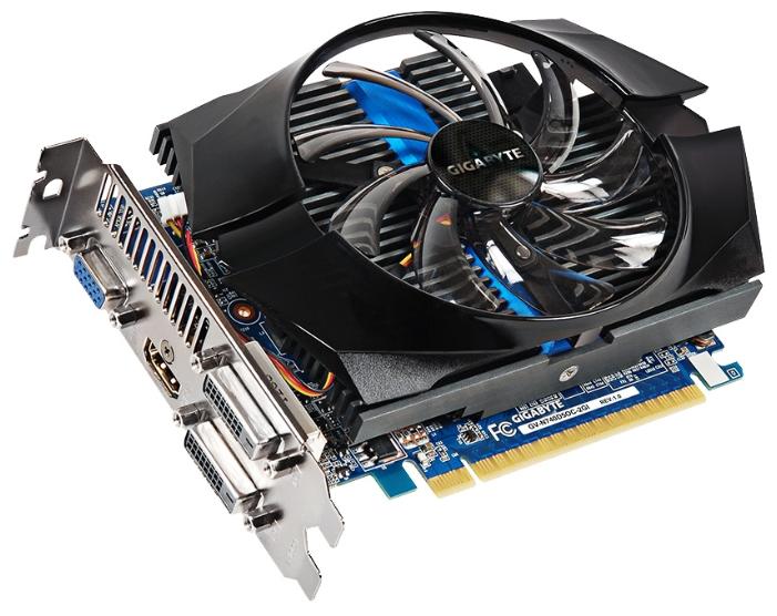Gigabyte GV-N740D5OC-2GI (GT740, 2GB GDDR5) - NVIDIA GeForce GT 740, 28 нм, 1072 МГц, 2048 Мб GDDR5@5000 МГц 128 бит, TDP 64 Вт • Разъёмы