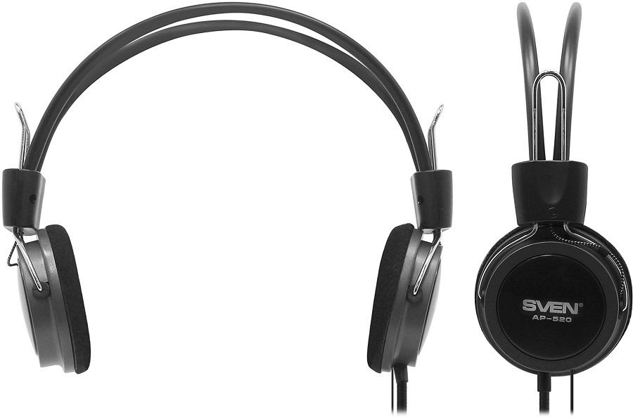Sven AP-520 - (Наушники: 20 - 20000 Гц; 32 Ом; накладные. • Микрофон: есть; 30 - 16000 Гц. • Подключение: 2.2 м; 2x mini jack 3.5 mm.)