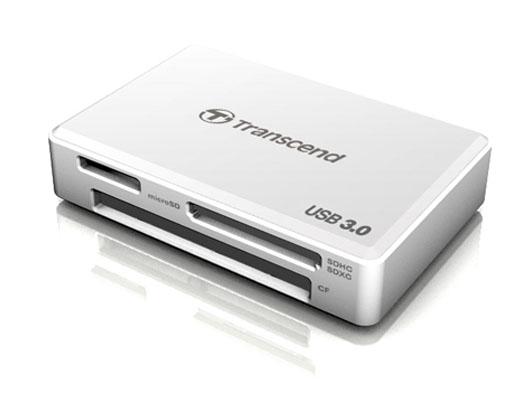 Transcend RDF8 all-in-1 White - Картридер; USB 3.0 • Типы карт: SD, microSD, MS, SDHC, SDXC, micro SDHC, CF, micro SDXC, SDHC UHS-I,