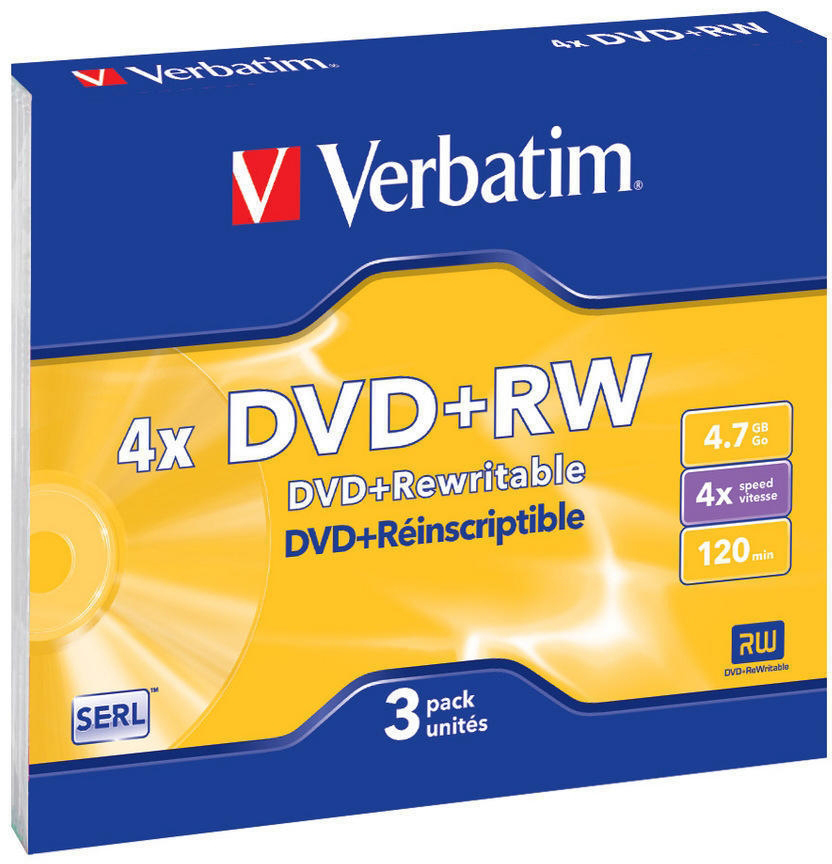 DVD-диск Verbatim 4.7 Gb, 4x, Slim (3шт) 43636