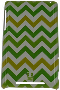 "E-cell Green chevron pattern glossy back case для ASUS - (Чехол-накладка; для экрана 7""; пластик • назначение - ASUS Nexus 7)"
