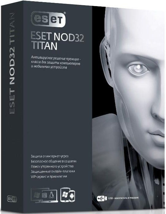 Eset Nod32 Titan и NOD32 Smart Security - флешка, коробка; устройства - 3 ПК и 1 мобильное устройство; срок - 1 год; базовая NOD32-EST-NS(BO
