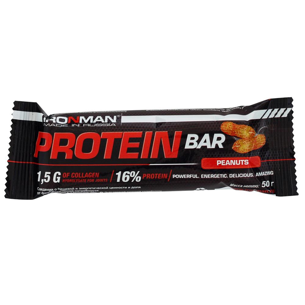 Батончик Ironman Protein Bar с коллагеном 50гр орех (667)
