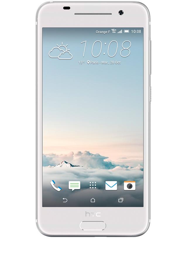 HTC One A9 Opal Silver - (; GSM 900/1800/1900, 3G, 4G LTE, LTE-A Cat. 6; SIM-карт 1 (nano SIM); Qualcomm Snapdragon 617; RAM 2 Гб; ROM 16 Гб; ; 13 млн пикс., светодиодная вспышка; есть, 4 млн пикс.; датчики - освещенности, приближения, гироскоп, компас, считывание отпечатка пальца)