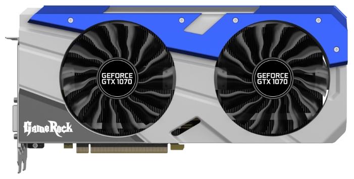 Palit PCI-E NV GTX1070 GameRock 8192Mb 256b DDR5 D-DVI+HDMI - NVIDIA GeForce GTX 1070, 16 нм, 1556 МГц, 8192 Мб GDDR5@8000 МГц 256