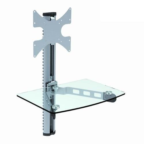 Brateck DVD-14C, Silver - 23 - 42''; до вертик. кронштейн - 30 кг, полка - 10 кг; настенный фиксированный. Глубина 37 мм. Материал