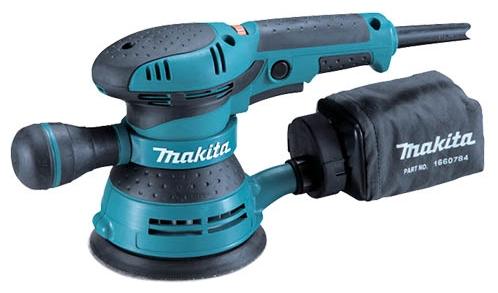 Makita BO5041 - эксцентриковая; 300 Вт; до 12000 об/мин; крепление - липучка; диам.диска до 125 мм; питание от сети