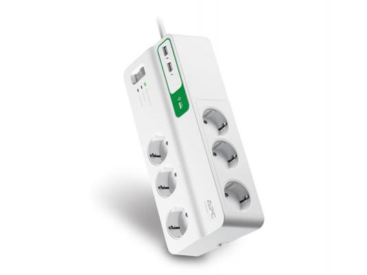 APC PM6U-RS, White, (6 розеток, 2 м.) - (Сетевой фильтр; всего розеток 6; 220В / 230В; провод 2 м)