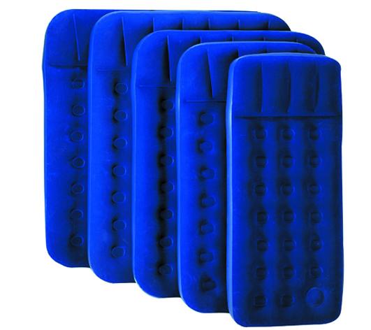 Кровать надувная Bestway 2 местн. флок, ножной насос 67225 синий 191х137x22см