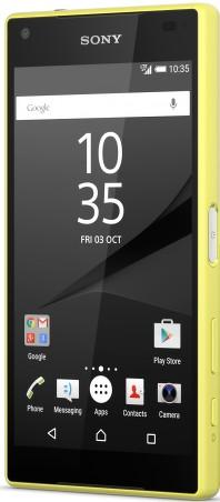 Sony Xperia Z5 Compact, Yellow - (Android 5.1; GSM 900/1800/1900, 3G, 4G LTE, LTE-A Cat. 6; SIM-карт 1 (nano SIM); Qualcomm Snapdragon 810; RAM 2 Гб; ROM 32 Гб; 2700 мА?ч; 23 млн пикс.; есть, 5 млн пикс.; датчики - считывание отпечатка пальца)