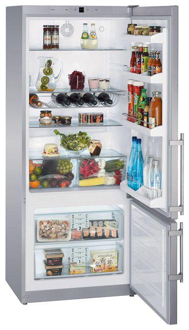 Liebherr CPesf 4613 - (холодильник с морозильником, 432 л (клим.класс SN, T), отдельно стоящий, компрессоров 1, камер 2, дверей 2. Хол-ник 337 л (разм. капельная система). Мор-ник 95 л, внизу (разм. ручное). ШГВ 75x62.8x184 см. Управление электронное. Энергопотр-е класс A+ (321 кВтч/год). серебристый / пластик)