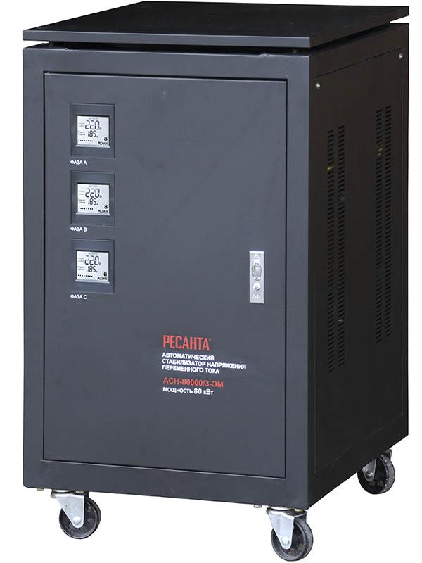 Ресанта ACH-80000/3-ЭМ - электромеханический; 80 кВт; Вход 138-248 В; трехфазное; Выход 216-224 В; КПД 97% 63/4/15