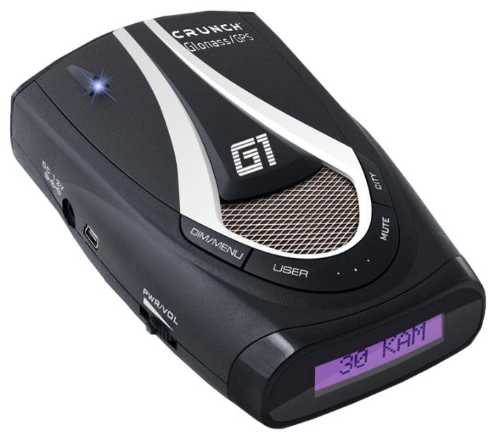 Crunch G1 GPS - Ultra-K, Ultra-Ka, Ultra-X, POP, Instant-On, режим Город: есть, количество уровней - 2, режим Трасса: есть, отображение