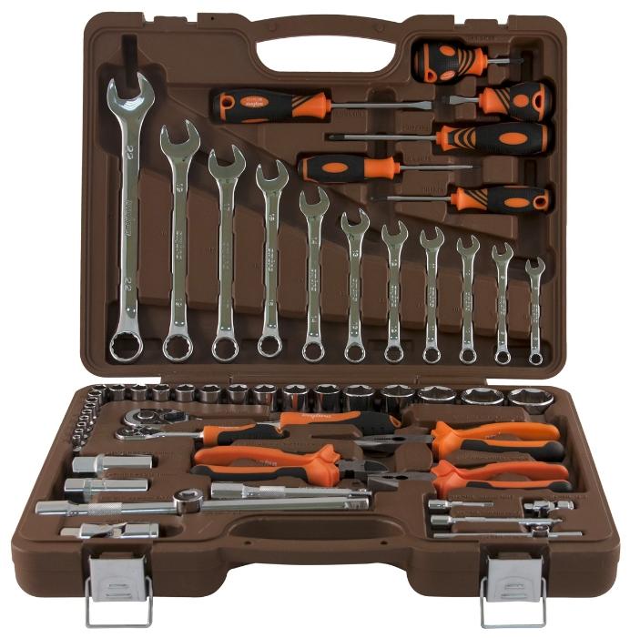 OMBRA OMT55S, 55 предметов - автомобильный; предметов 55 шт • Гаечные ключи: 8-22 мм • Головки: 4-32 мм. Трещётка есть. Вороток есть