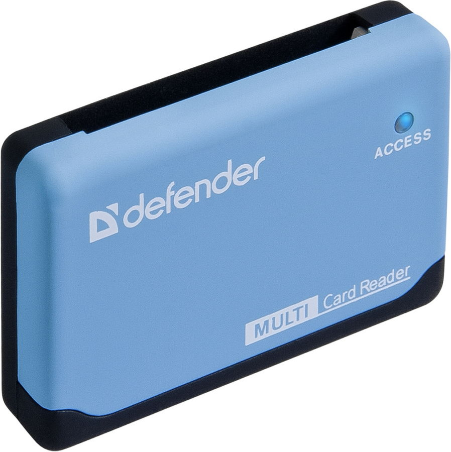 Defender Ultra (USB) - Картридер; внешний; miniUSB 2.0b • Типы карт: RS-MMC, MS Duo, MS PRO, SDHC, Micro-SD (T-Flash), MS PRO Duo,