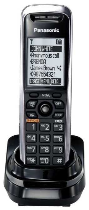 Дополнительная трубка для VoIP-телефона Panasonic KX-TPA50B09, есть определитель номера, время работы в режиме разговора 5 ч