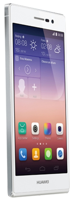 Huawei Ascend P7 white - (Android 4.4; GSM 900/1800/1900, 3G, LTE; SIM-карт 1; HiSilicon Kirin 910T, 1800 МГц; RAM 2 Гб; ROM 16 Гб; 2500 мАч; 13 млн пикс., светодиодная вспышка; есть, 8 млн пикс.; датчики - освещенности, приближения, компас)