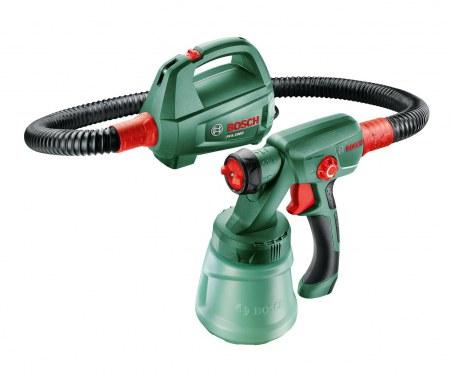 Bosch PFS 2000 - Краскопульт; 200 мл/мин; ; вход 440 Вт. Шланг 1.25. Сопло с 3-мя положениями. Контейнер(ы) - 0.8 л
