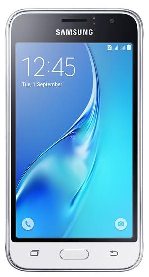 Samsung Galaxy J1 (2016) SM-J120F/DS, white - (; GSM 900/1800/1900, 3G, 4G LTE; SIM-карт 2 (Micro SIM); Samsung Exynos 3475, 1300 МГц; RAM 1 Гб; ROM 8 Гб; 2050 мА?ч; 5 млн пикс., светодиодная вспышка; есть, 2 млн пикс.; датчики - приближения)