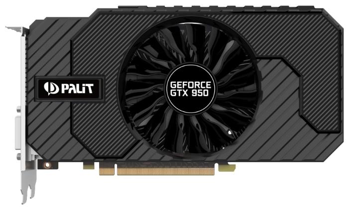 PALIT GTX 950 STORMX 2G 2048Mb 128bit - NVIDIA GeForce GTX 950, 28 нм, 1026 МГц, 2048 Мб GDDR5@6610 МГц 128 бит, TDP 90 Вт • Разъёмы
