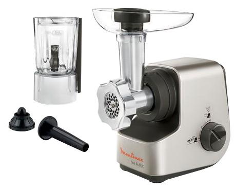 Moulinex ME511H25, silver / black - (Мощность: номинальная - 700 Вт (максимальная - 1600 Вт). Производительность: 2.3 кг/мин. Материал корпуса: пластик/металл. Доп. информация: мини-измельчитель 600 мл для лука, зелени, кофе; насадка для нарезки кубиками и соломкой)