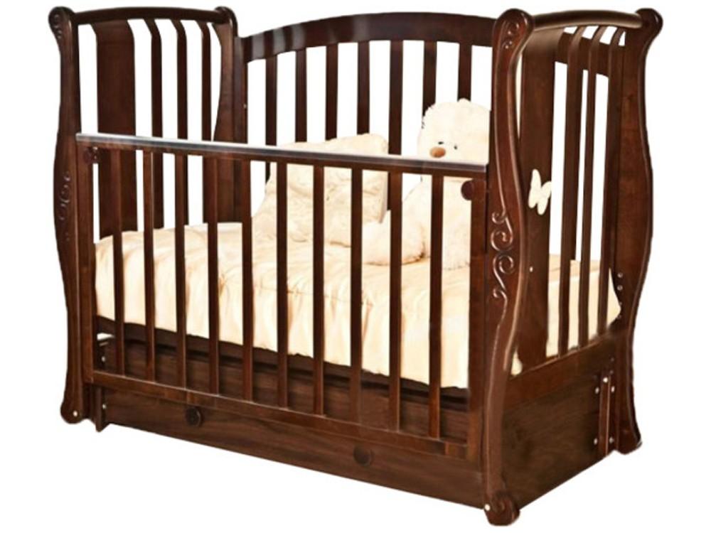 Кроватка с продольным маятником Красная Звезда Ярослава C551 Бабочка, chocolate