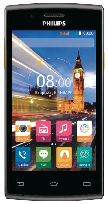 Philips Xenium S307 4Gb Black-Yellow 2Sim - (; GSM 900/1800/1900, 3G; SIM-карт 2 (обычная+micro SIM); Spreadtrum SC7731, 1300 МГц; RAM 512 Мб; ROM 4 Гб; 1630 мА?ч; 2 млн пикс., светодиодная вспышка; есть, 0.3 млн пикс.)