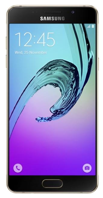 Samsung Galaxy A5 (2016), Gold - (; GSM 900/1800/1900, 3G, 4G LTE, LTE-A Cat. 6; SIM-карт 2; 1600 МГц; RAM 2 Гб; ROM 16 Гб; 2900 мА?ч; 13 млн пикс., светодиодная вспышка; есть, 5 млн пикс.; датчики - освещенности, приближения, компас, считывание отпечатка пальца)