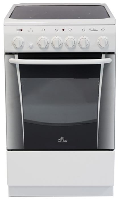 De Luxe 506004.03эс - (электрическая; конфорок электрических: 4 ; духовка 54 л; гриль есть, электрический, вертел в комплекте; конвекция нет; рабочая поверхность - стеклокерамика; ящик для посуды есть)