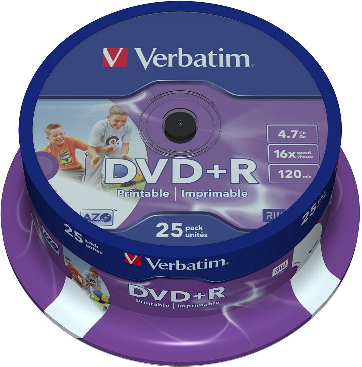DVD-диск Verbatim 4.7 Gb, 16x, Printable, Cake Box (25шт) 43539