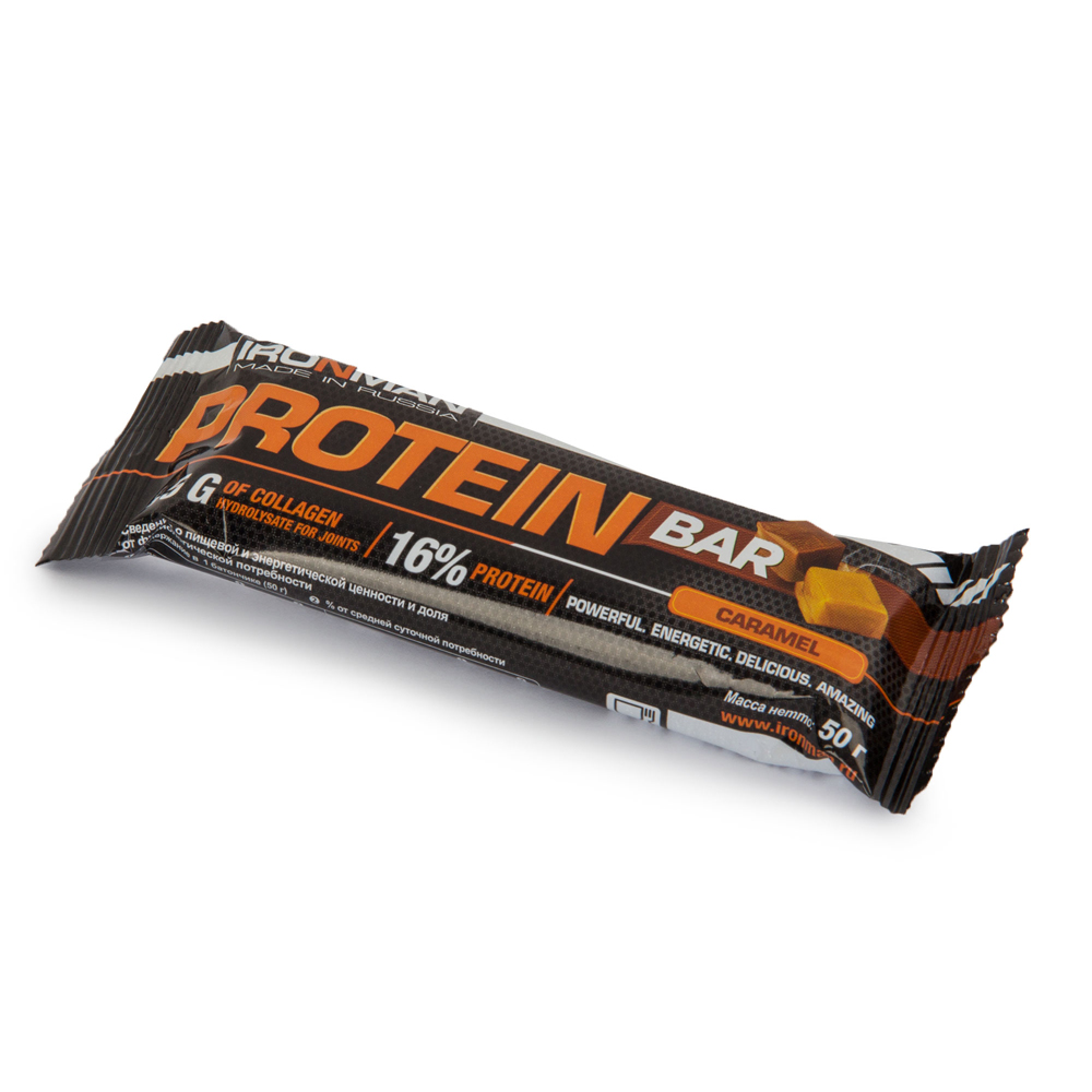 Батончик Ironman Protein Bar с коллагеном 50гр карамель (232)