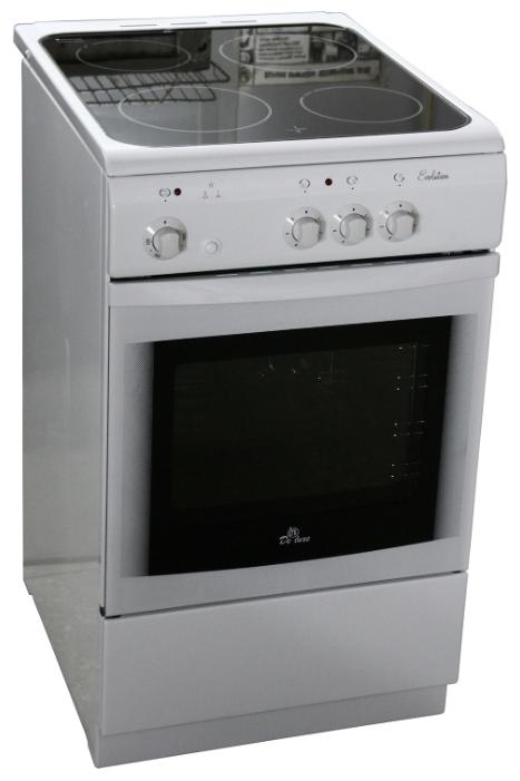 De Luxe 506003.04эс - (электрическая; конфорок электрических: 3 ; духовка 54 л; конвекция нет; рабочая поверхность - стеклокерамика; ящик для посуды есть)
