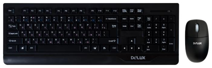 Delux K6000+M371 USB, black - Клавиатура: USB; радиоканал; мембранная; клавиш 104 • Мышь: USB; радиоканал; оптическая светодиодная