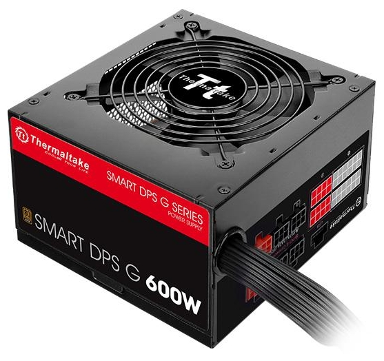 Thermaltake SMART DPS G Bronze 600W - 600 Вт, 1 вентилятор (120 мм), PFC активный, линия +12В(1) - 46 A • Molex: 3 / SATA: 6 / CPU