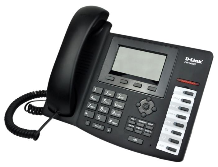 D-Link DPH-400SE/F4A, black - (SIP: есть, подключение к нескольким серверам, Hands Free: есть, LCD-дисплей: монохромный, интерфейсы: WAN, LAN)