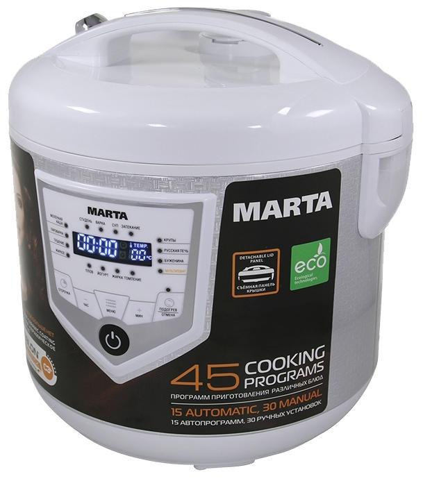 Marta MT-4308 white - (Объем 5 л; 860 Вт; управление электронное • автопрограммы 15, включая: выпечка, каша, крупа, тушение, приготовление на пару, плов, жарка, йогурт • 30 ручных программ; кулинарная книга)
