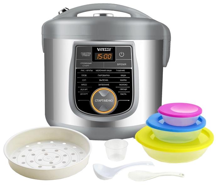 VITESSE VS-571 - (Объем 5 л; 900 Вт; управление электронное • автопрограммы 16, включая: выпечка, каша, крупа, тушение, приготовление на пару, плов, жарка, йогурт, паста)