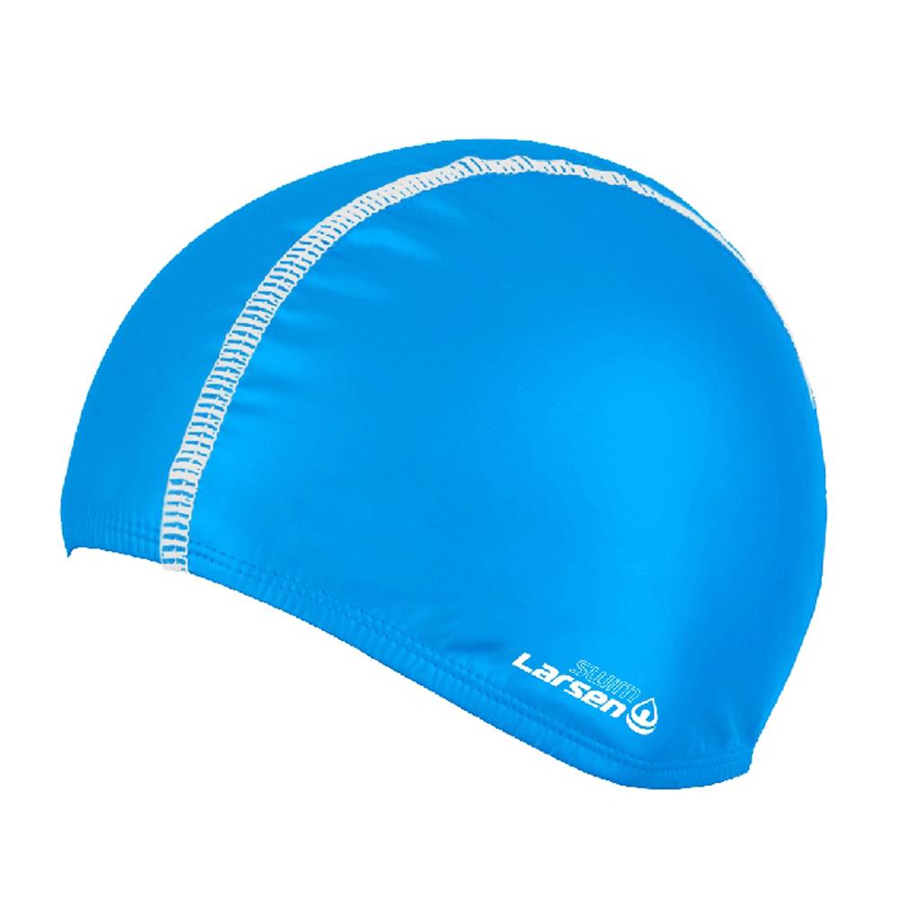 Шапочка плавательная Larsen 3059, эластан, голубой-белый