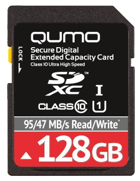 Qumo SDXC Class 10 UHS Class 1 128GB - (128 Гб; Secure Digital XC; Class 10; чтение 95 Мб/с; запись 47 Мб/с)