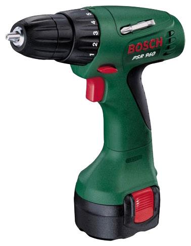 Bosch PSR 960 (603944669) - безударная дрель-шуруповерт; патрон быстрозажимной, D= 1 - 10 мм; скоростей 1; 550 об/мин; питание от аккумулято