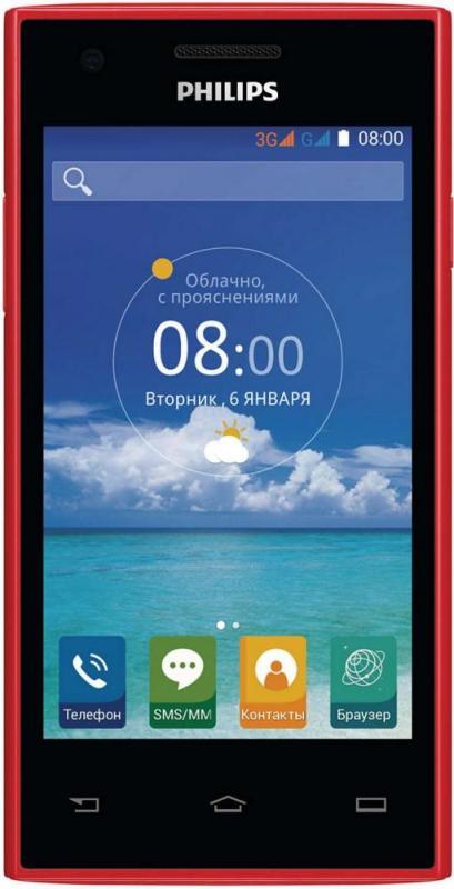 Philips S309 4Gb Red - (Android 4.4; GSM 900/1800/1900, 3G; SIM-карт 2; 1000 МГц; RAM 1 Гб; ROM 4 Гб; 1600 мАч; 5 млн пикс., 2592x1944, светодиодная вспышка; есть, 0.3 млн пикс.)