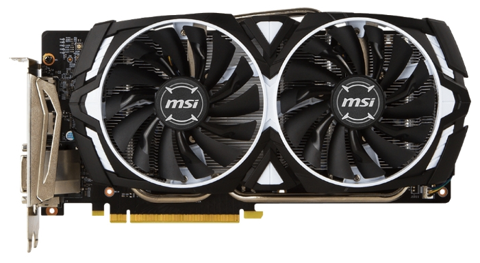 MSI GeForce GTX 1060 ARMOR 6G OCV1 - (NVIDIA GeForce GTX 1060, 16 нм, 1544 МГц, 6144 Мб GDDR5@8008 МГц 192 бит, TDP 120 Вт • Разъёмы: DVI-D, поддержка HDCP, HDMI x2, DisplayPort x2.)